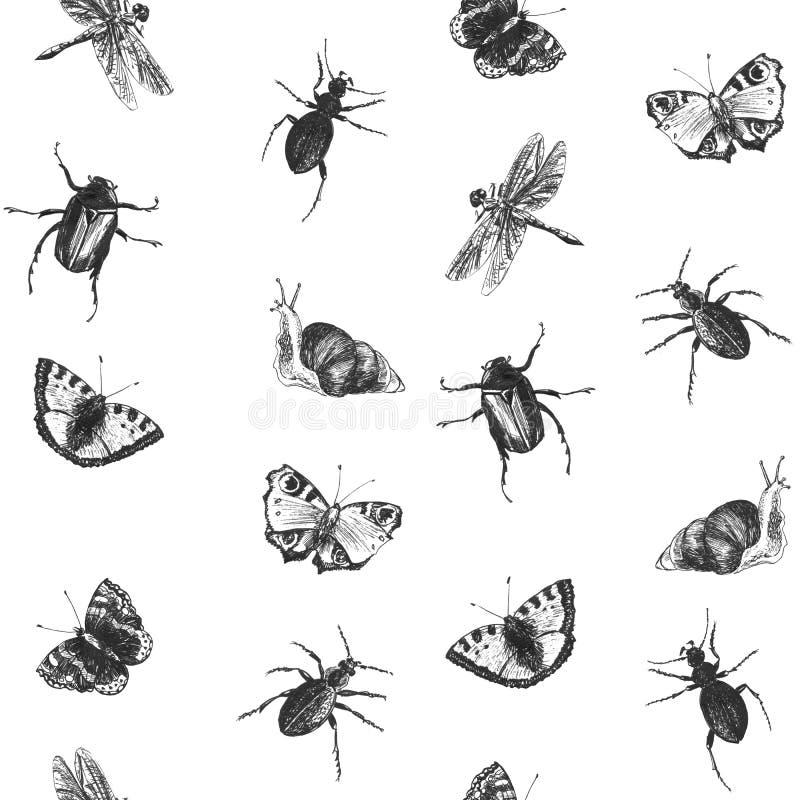 Helder naadloos de zomerpatroon met vlinders, kevers, slakken en libellen Hand getrokken insecten Grafische achtergrond voor royalty-vrije stock afbeeldingen