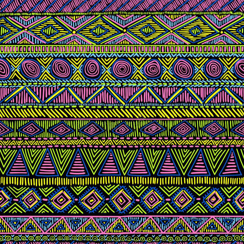Helder naadloos etnisch ornament Zwart, blauw, roze, geel en g vector illustratie