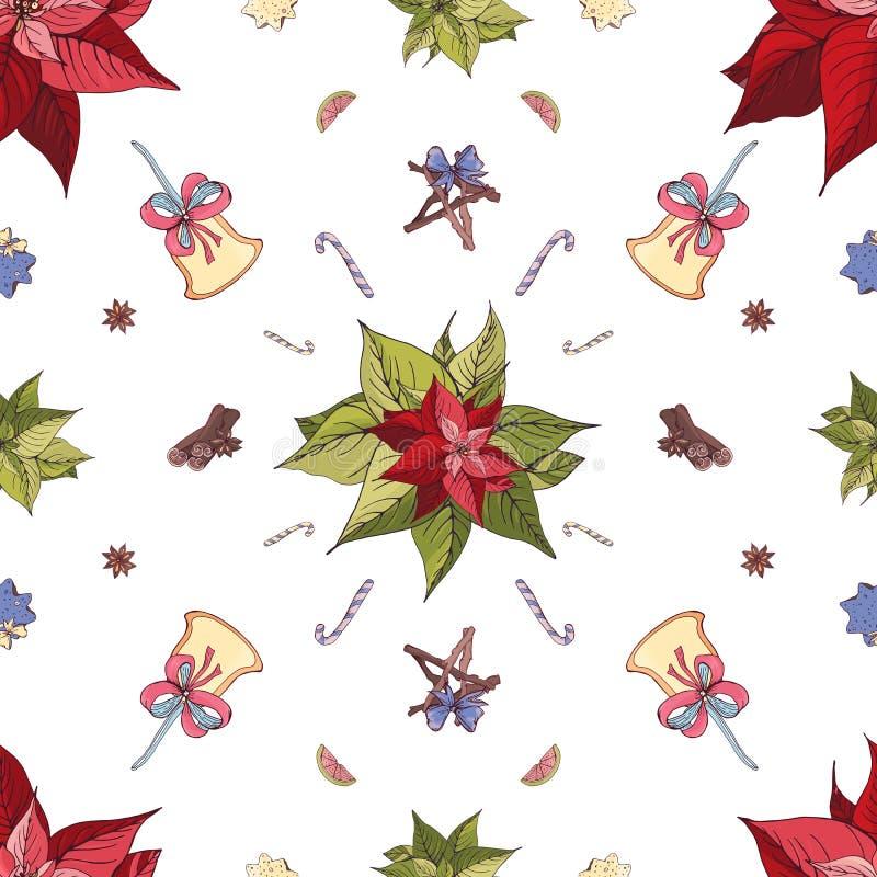 Helder naadloos feestelijk vectorpatroon Peperkoekkoekjes, decoratie, snoepjes en van Kerstmiskruiden illustraties royalty-vrije illustratie