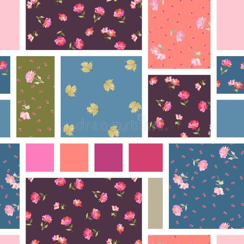 Helder naadloos lapwerkpatroon De zomerdruk met bloemen en bladeren royalty-vrije illustratie