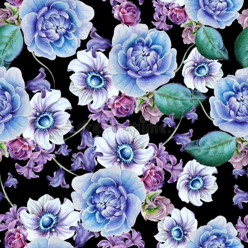 Helder naadloos patroon met bloemen Anemoon Pioen De illustratie van de waterverf royalty-vrije illustratie