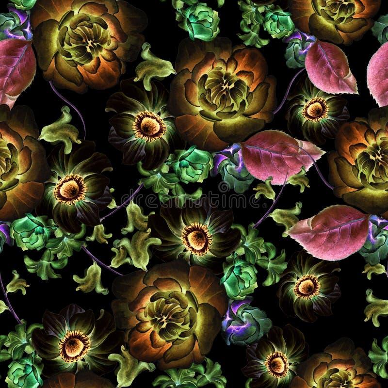 Helder naadloos patroon met bloemen Anemoon Pioen De illustratie van de waterverf stock illustratie