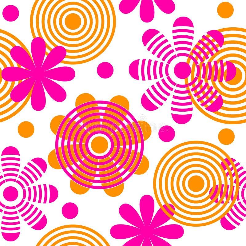 Helder naadloos patroon met bloemen en cirkels vector illustratie