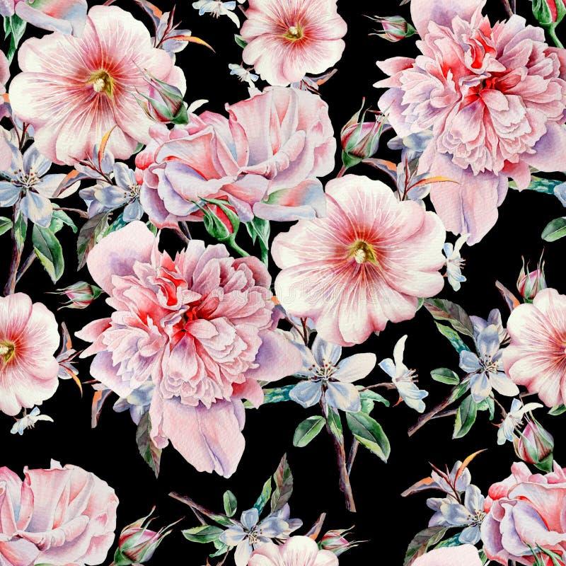 Helder naadloos patroon met bloemen Nam toe Pioen malve De illustratie van de waterverf stock illustratie