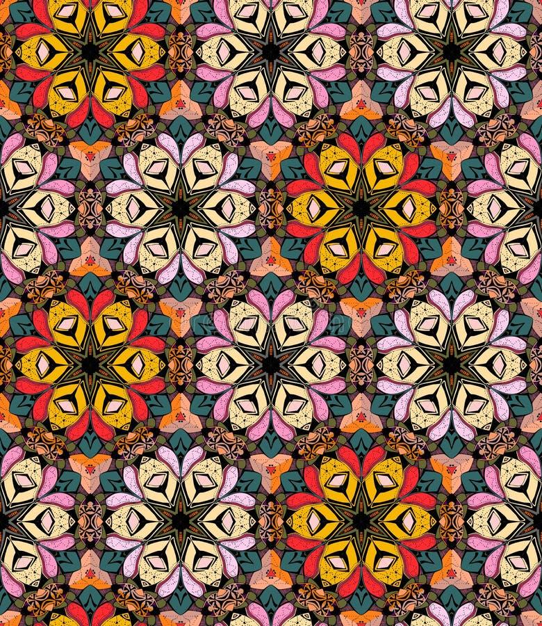 Helder naadloos patroon met bloemencaleidoscoop vector illustratie