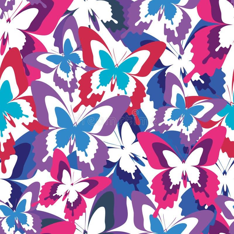 Helder naadloos patroon met kleurrijke vlinders vector illustratie