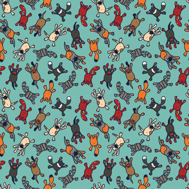Helder naadloos patroon met leuke beeldverhaalhuisdieren stock illustratie