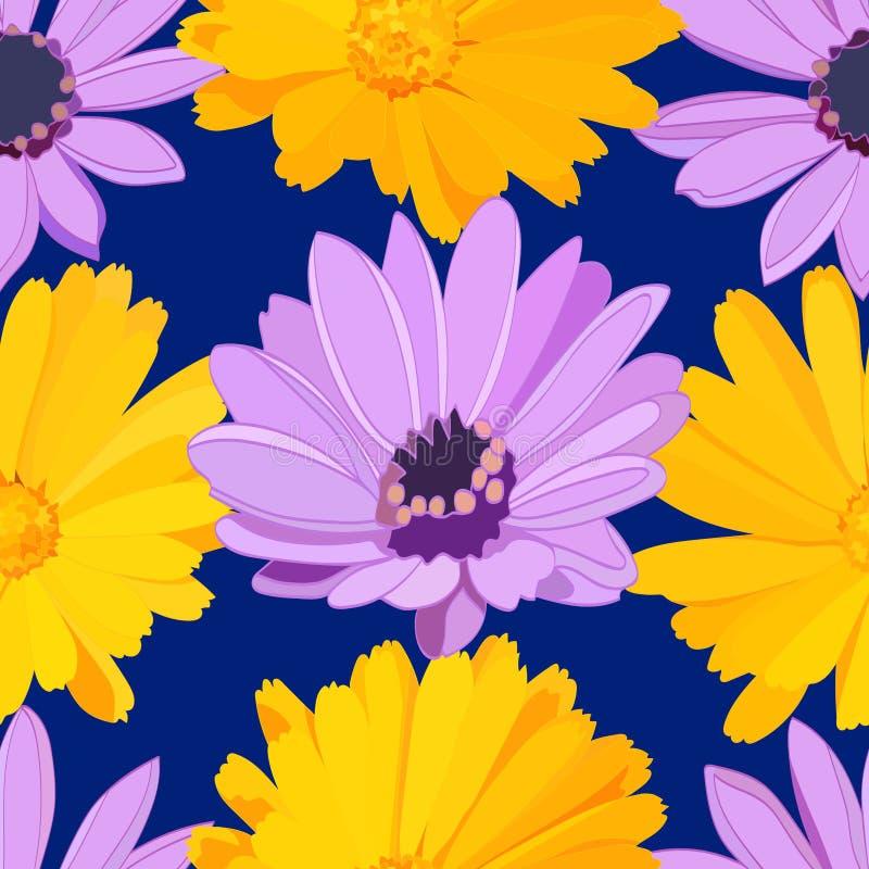 Helder naadloos patroon van gele boterbloemen en lilac madeliefjes op donkerblauwe achtergrond vector illustratie