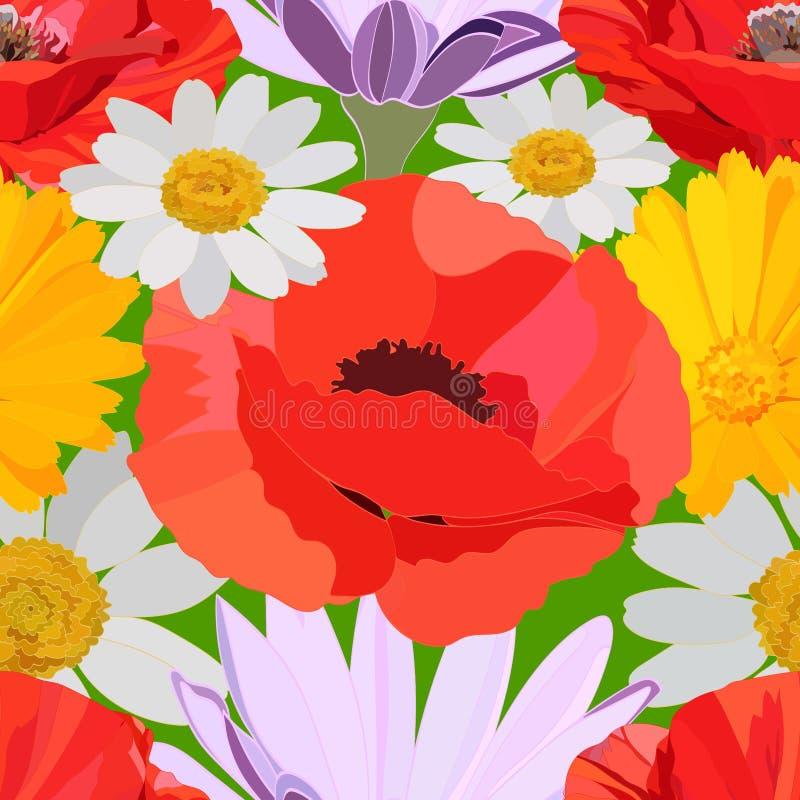 Helder naadloos patroon van grote rode papavers, gevoelige witte, lilac en gele madeliefjes op groene achtergrond vector illustratie