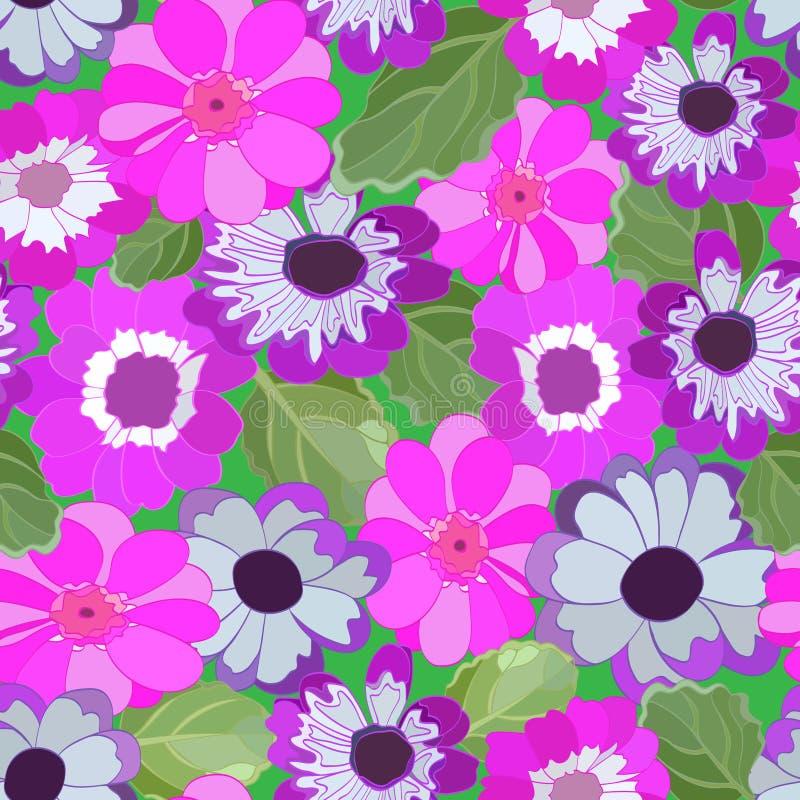Helder naadloos patroon van kleine kleurrijke bloemen en groene bladeren stock illustratie