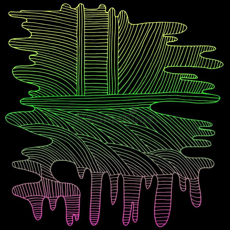 Helder, neon, grafische lijn, geel lichtgroen roze overzicht, royalty-vrije illustratie