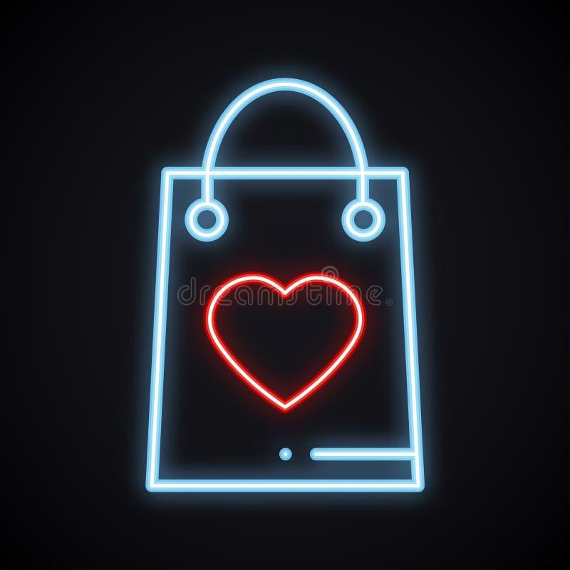 Helder neon het winkelen pakket met hartteken Het gloeien heden De dagsymbool van gelukkig Valentine royalty-vrije illustratie