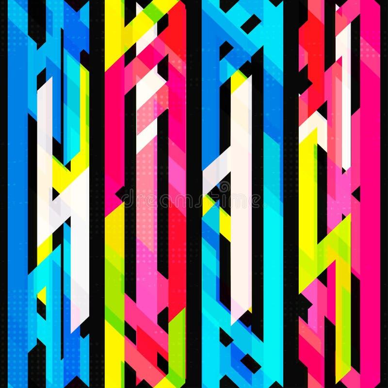 Helder neon naadloos patroon met grungeeffect royalty-vrije illustratie