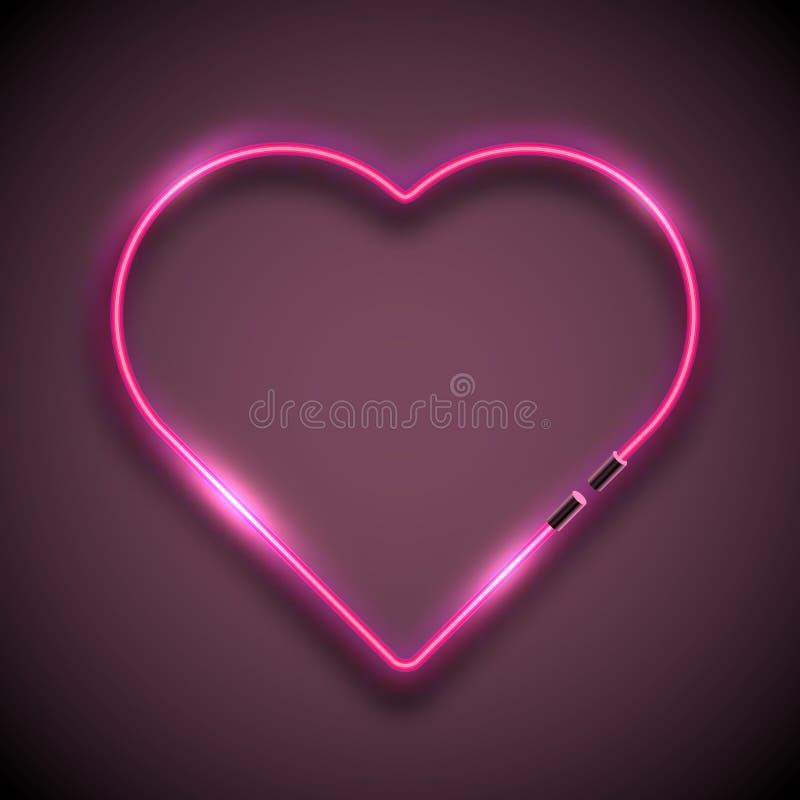 Helder neonteken in vorm van hart Retro teken van het neonhart royalty-vrije illustratie