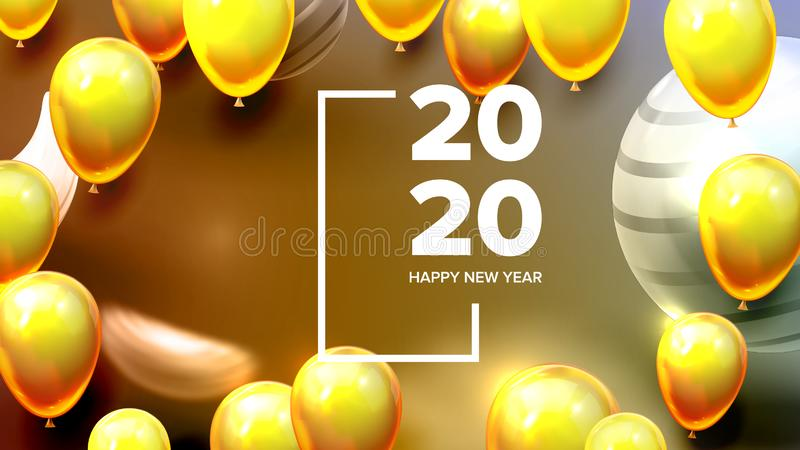 Helder nodig de Bannervector uit van het Kaart Gelukkige Nieuwjaar royalty-vrije illustratie