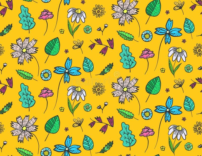 Helder oranje bloemenpatroon met krabbelbloemen royalty-vrije illustratie