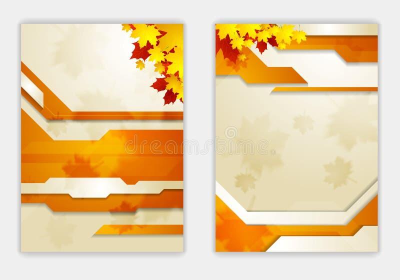 Helder oranje de vliegermalplaatje van de herfstbladeren vector illustratie