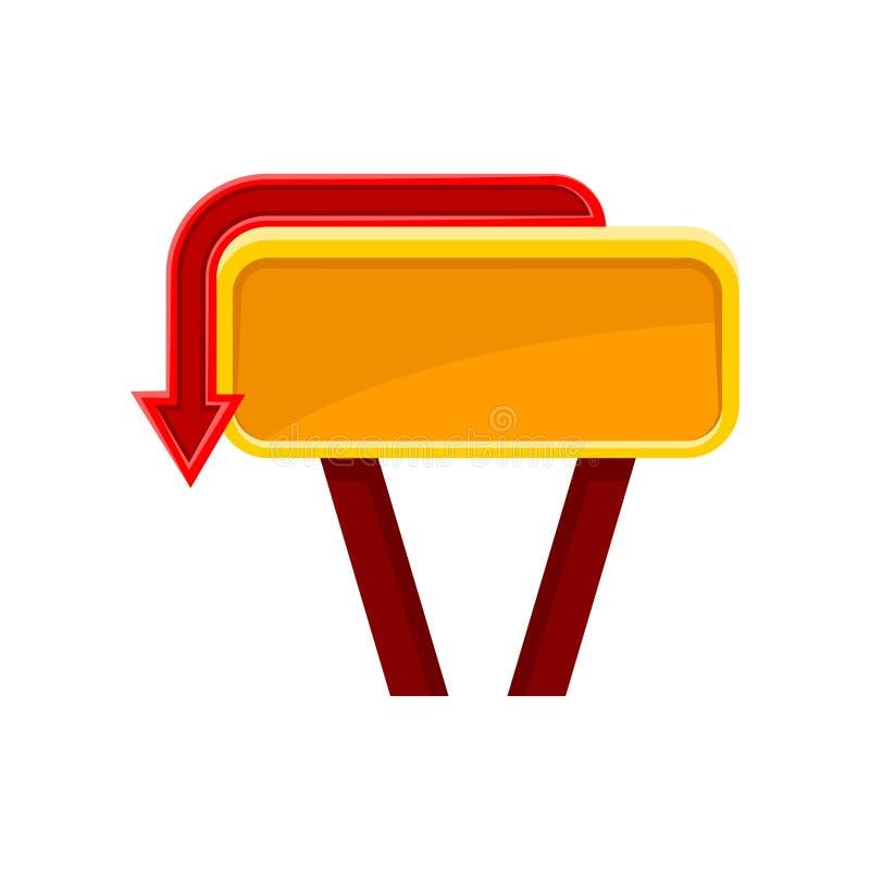 Helder oranje uithangbord met rode pijl Aanplakbord met plaats voor uw bericht Vlakke vector voor mobiel spel, website of royalty-vrije illustratie