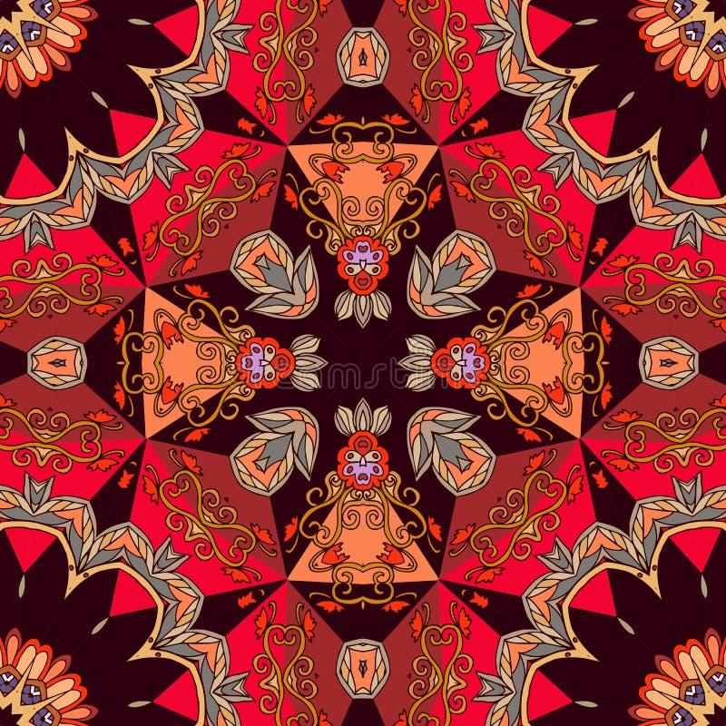Helder ornament voor keramische tegel of tapijt in oosterse stijl stock illustratie