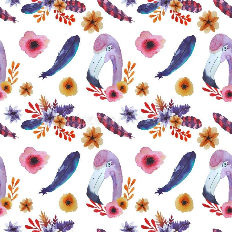 Helder Patroon met flamingo stock illustratie