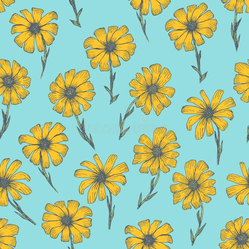 Helder patroon met gele kamillebloemen vector illustratie