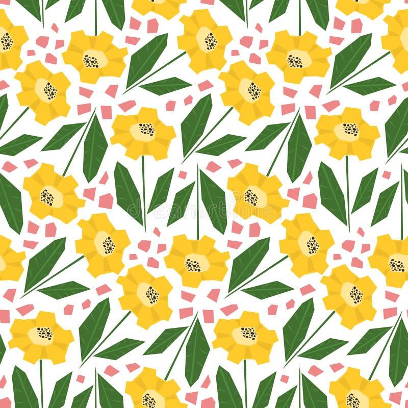 Helder patroon met leuke gele zonnebloemen vector illustratie