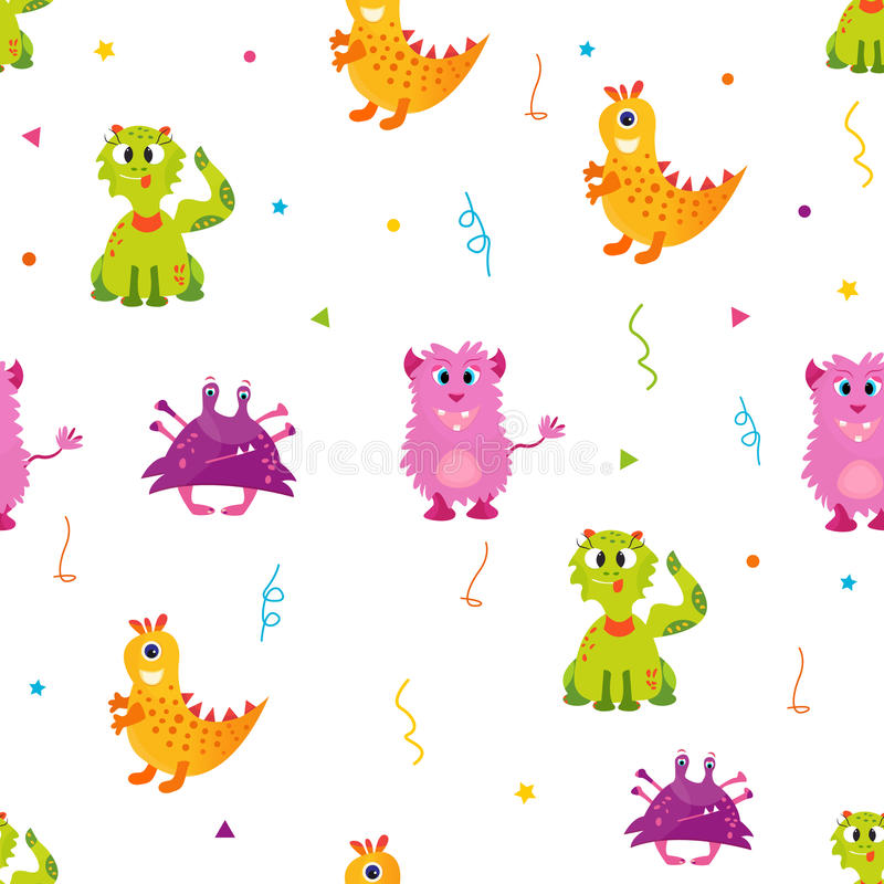 Helder patroon met leuke monsters Kan voor textiel, document het verpakken, dekking worden gebruikt royalty-vrije illustratie