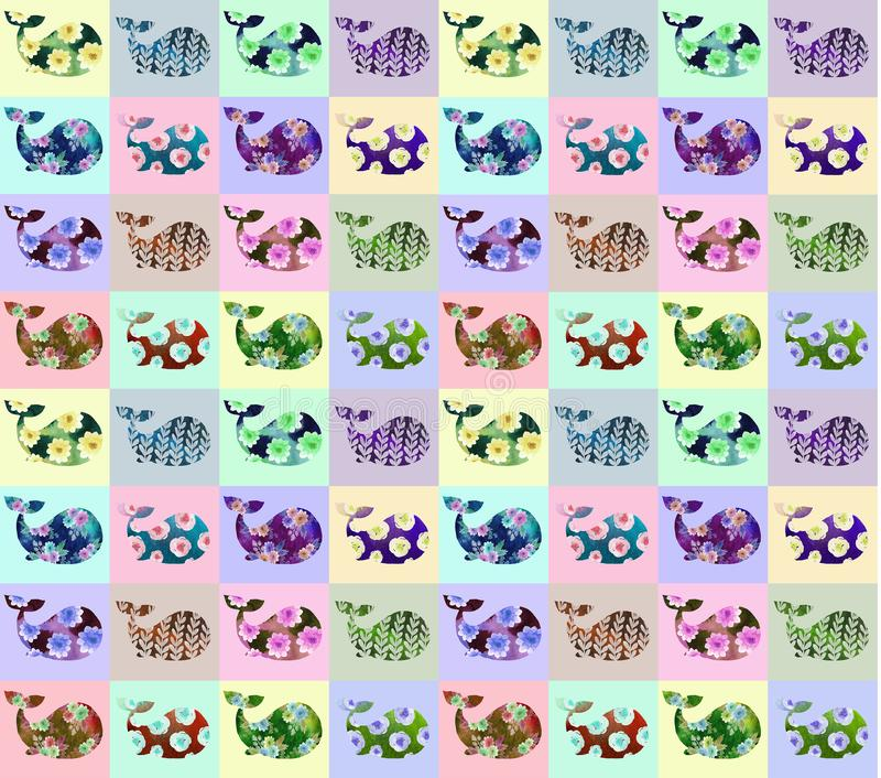 Helder patroon met walvissen vector illustratie