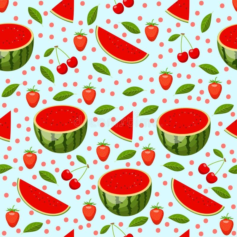 Helder patroon met watermeloen stock illustratie