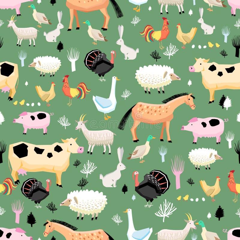 Helder patroon van landbouwbedrijfdieren stock illustratie
