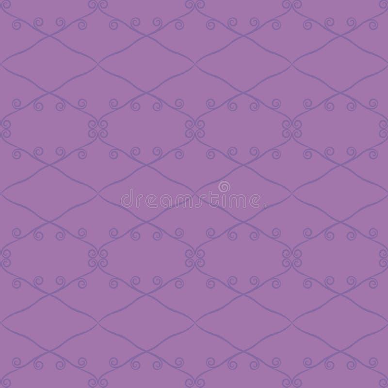 Helder purper retro naadloos patroonpatroon van verzadigde donkere purpere ruitenlijnen en krullen op een lichtere purpere achter royalty-vrije illustratie