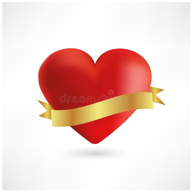 Helder rood hart met gouden lintpictogram royalty-vrije illustratie