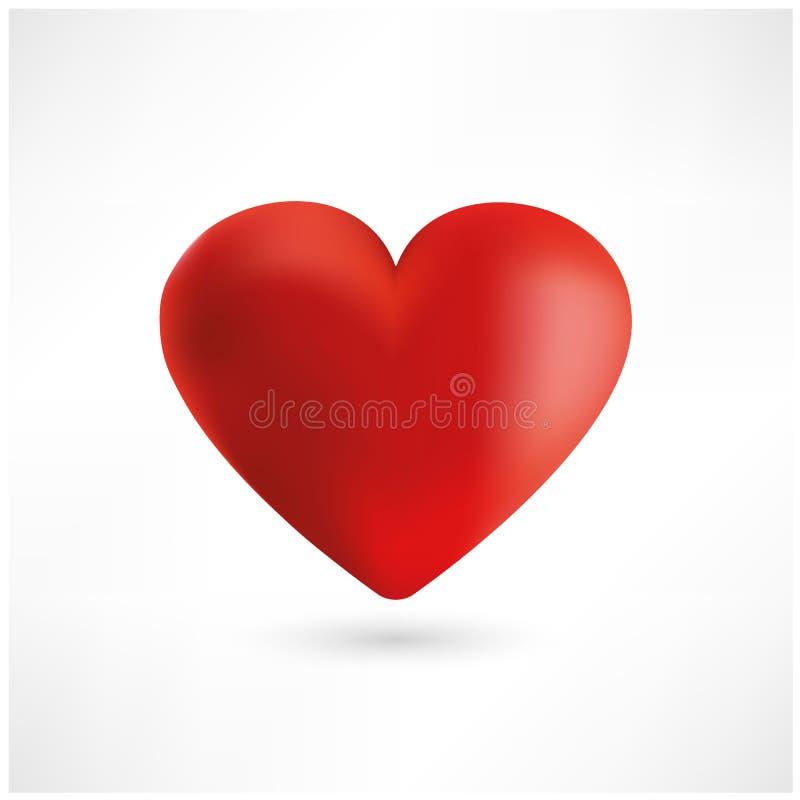 Helder rood hart op witte achtergrond Vector vector illustratie