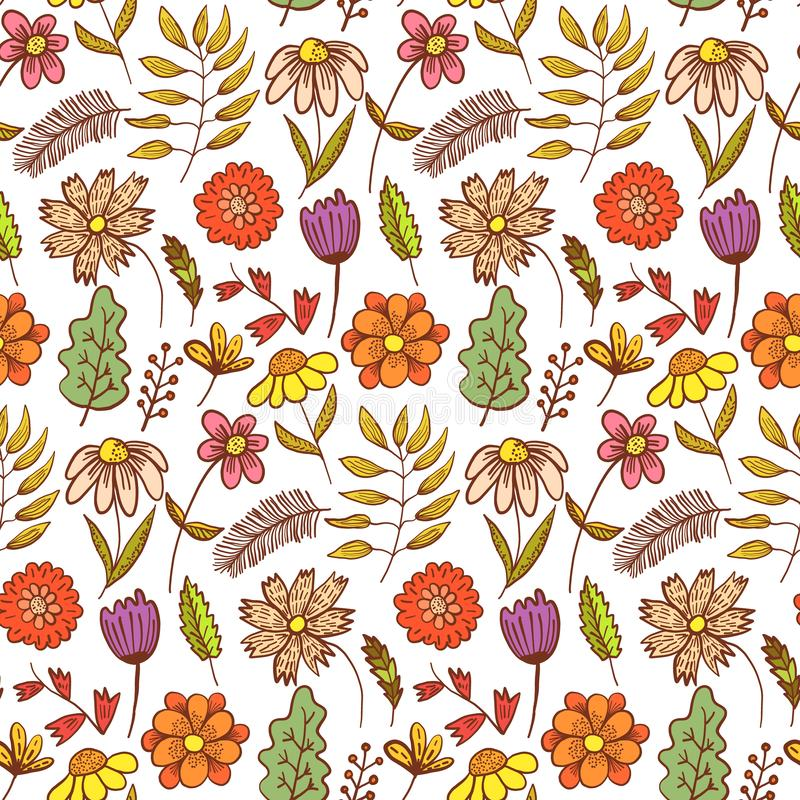 Helder rood krabbel bloemenpatroon met bloemen royalty-vrije illustratie