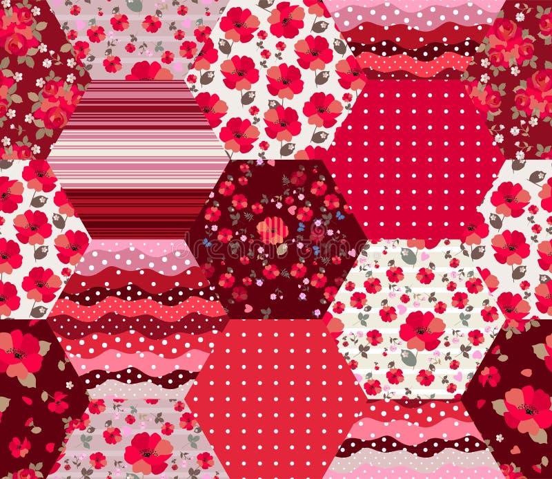 Helder rood lapwerkpatroon met bloemen en geometrische ornamenten Naadloos ontwerp in de stijl van het land Druk voor stof stock illustratie