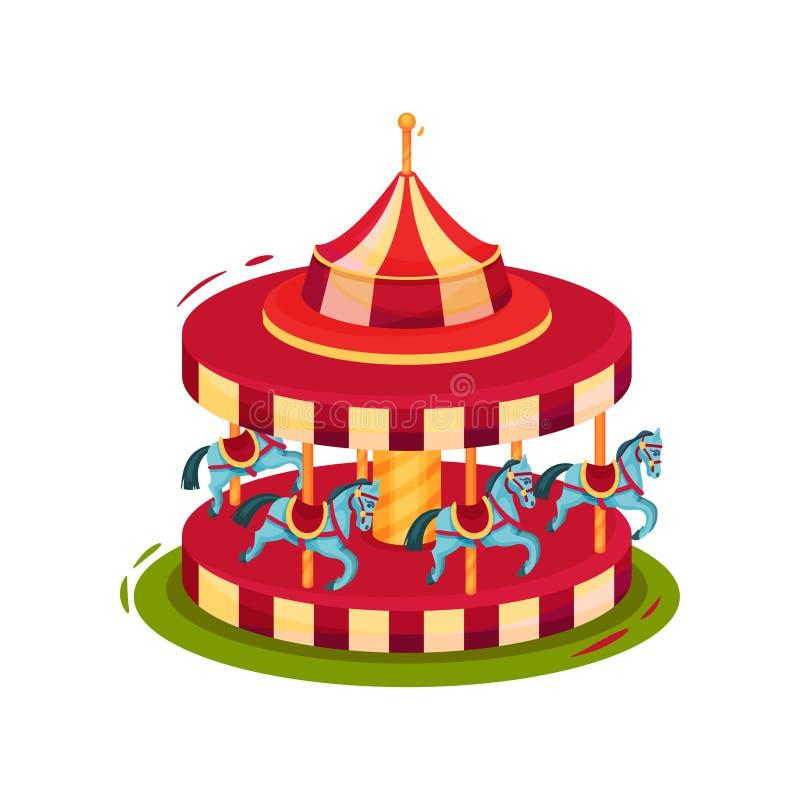 Helder rood vrolijk-gaan-rond met blauwe paarden Kinderencarrousel Pretparkthema Vlak vectorpictogram vector illustratie