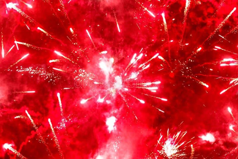 Helder rood vuurwerk royalty-vrije stock afbeelding