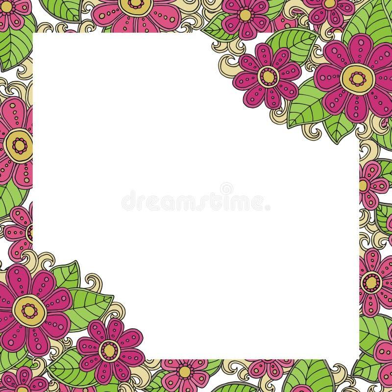 Helder roze bloemenkader stock illustratie