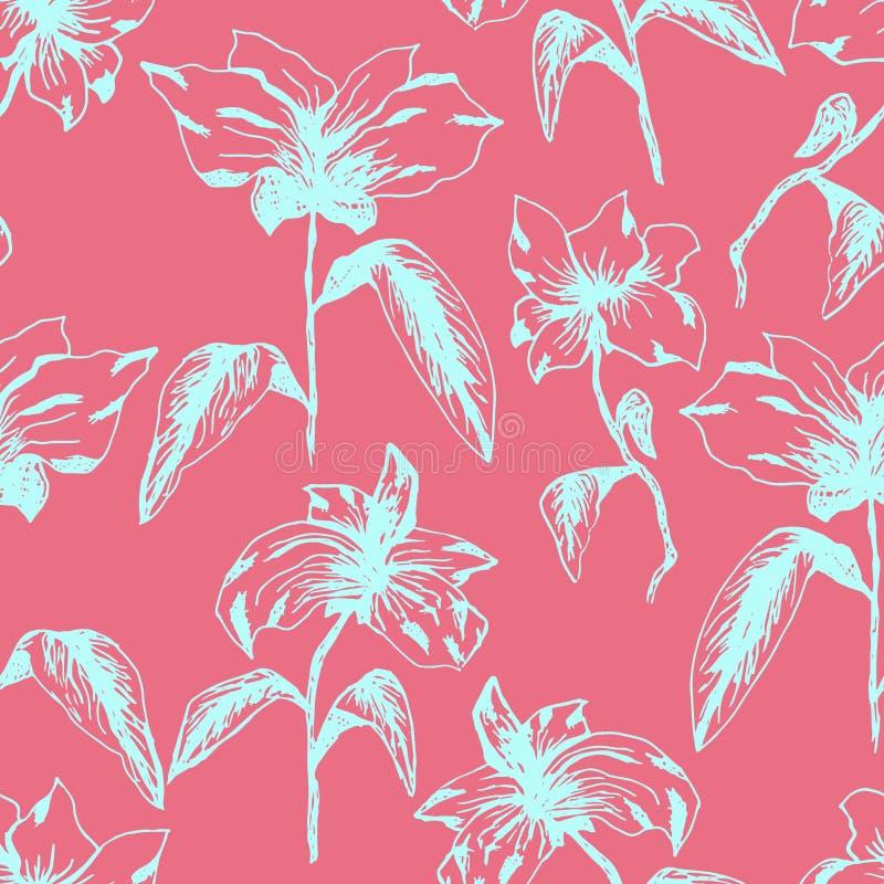 Helder roze patroon met witte hand getrokken bloemen stock illustratie