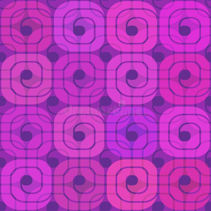 Helder roze-purper patroon van spiralen stock illustratie
