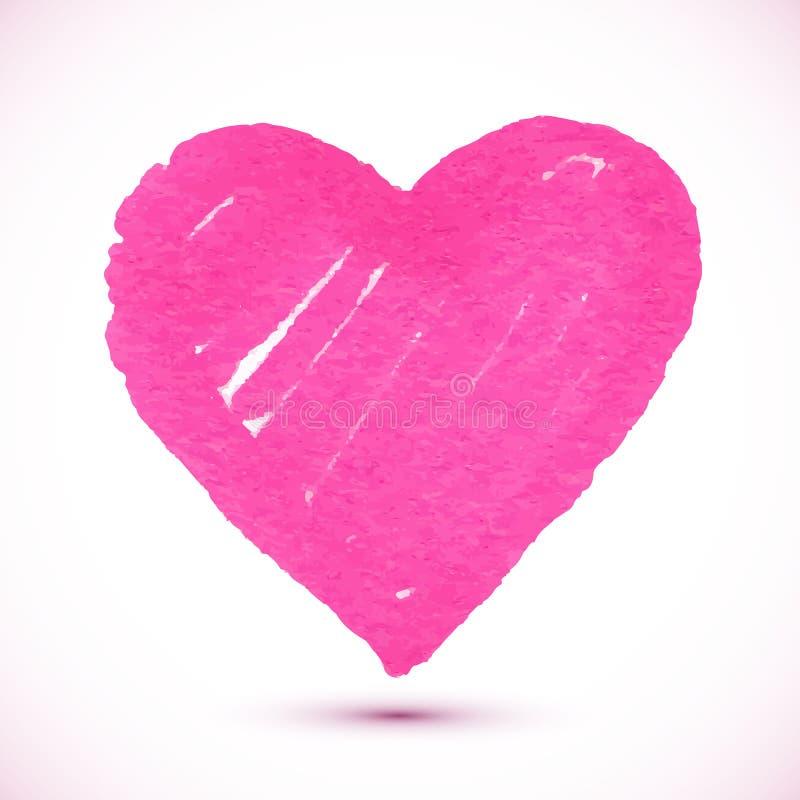 Helder roze tellers geweven vectorhart stock illustratie