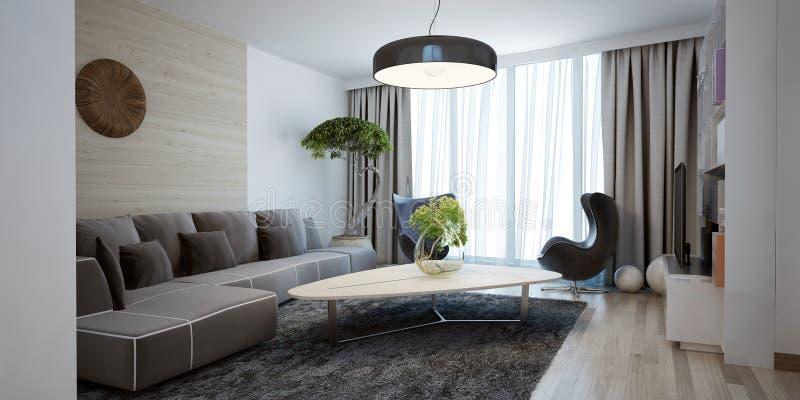 Helder ruim ontwerp van moderne zitkamer royalty-vrije stock afbeeldingen