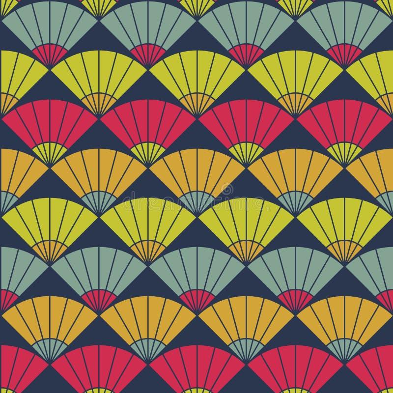 Helder ventilatorpatroon Gebaseerd op Traditioneel Japans Borduurwerk Abstract Naadloos Patroon stock illustratie