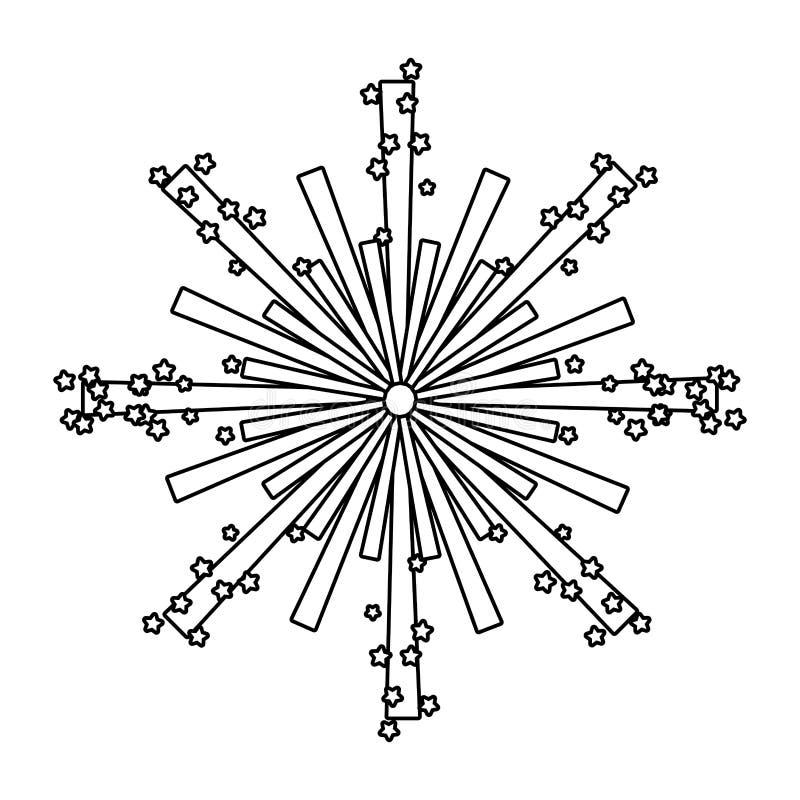 Helder vuurwerkbeeldverhaal vector illustratie