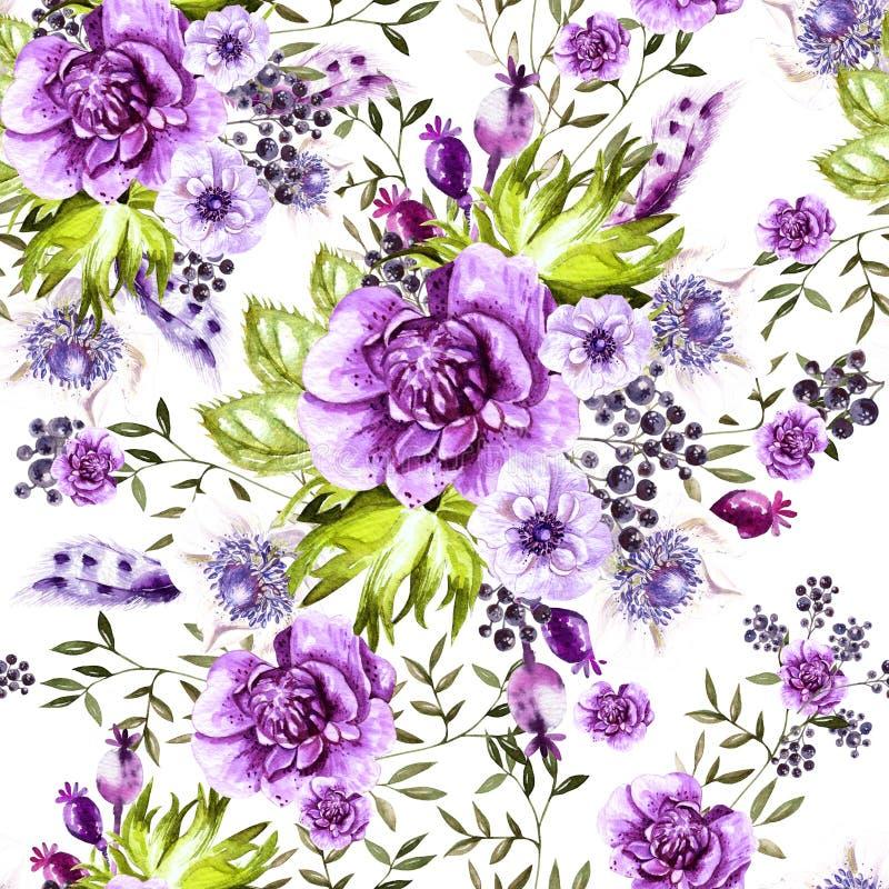 Helder waterverfpatroon met anemoonbloemen en bes royalty-vrije illustratie