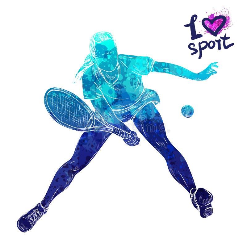 Helder waterverfsilhouet van tennisspeler Materiaal voor bescherming van speler Grafisch cijfer van de atleet Actieve mensen vector illustratie