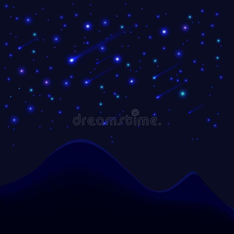 Heldere achtergrond met sterren en bergenvector royalty-vrije illustratie