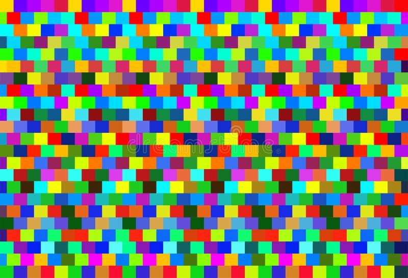 Heldere achtergrond vierkante rode groenachtig blauwe patroon eindeloze reeks van caleidoscoop royalty-vrije illustratie