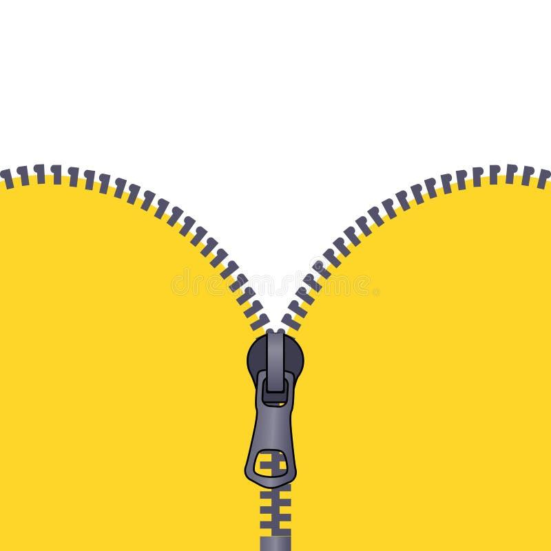 Heldere achtergrond voor de reclame van pamfletten Open gele ritssluiting stock illustratie