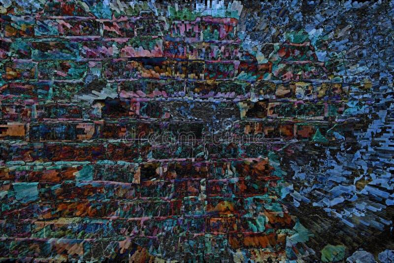 Heldere bakstenen muurachtergrond in de vorm van abstractie stock afbeeldingen